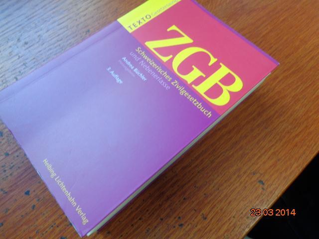 Texto ZGB: Schweizerisches Zivilgesetzbuch und Nebenerlasse Taschenbuch: von Andrea Büchler