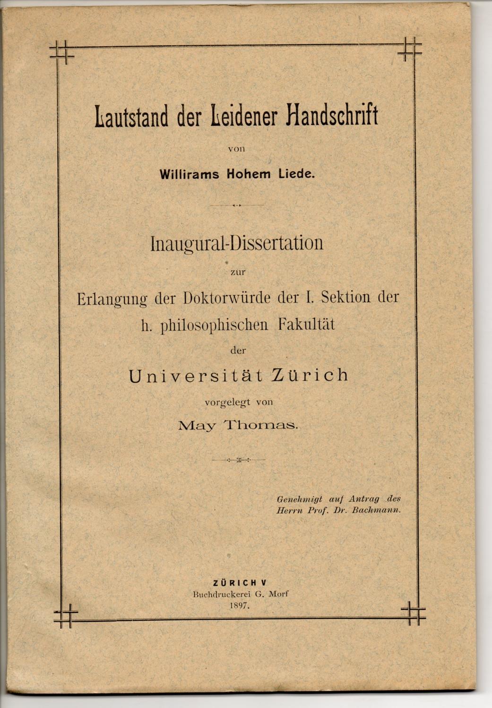 Lautstand der Leidener Handschrift von Willirams Hohem: Thomas, May