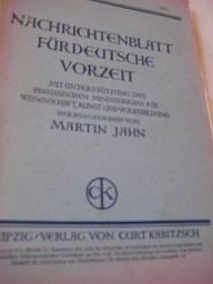 Nachrichtenblatt für deutsche Vorzeit Jg.VII Heft 1,: Jahn, Martin: