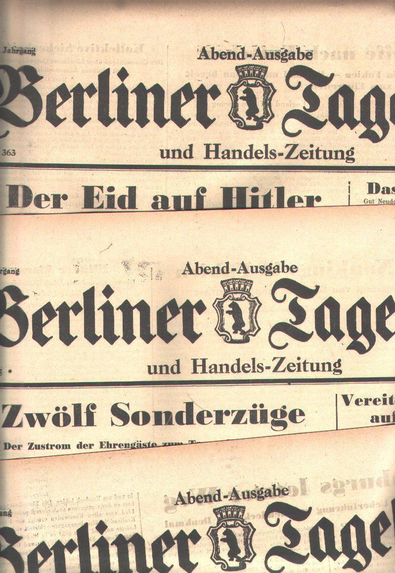 Berliner Tageblatt Nr. 277,363,365,367 1934: 4 Ausgaben Berliner