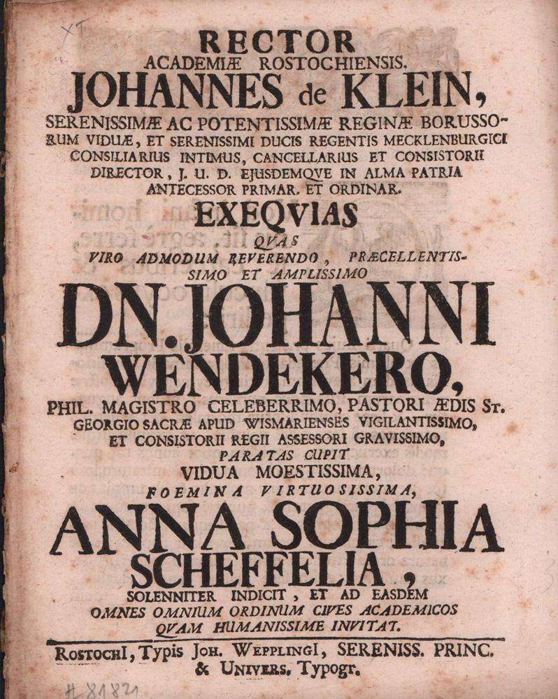 Exeqvias Qvas Viro . Dn. Johanni Wendekero,: Klein, Johann von.