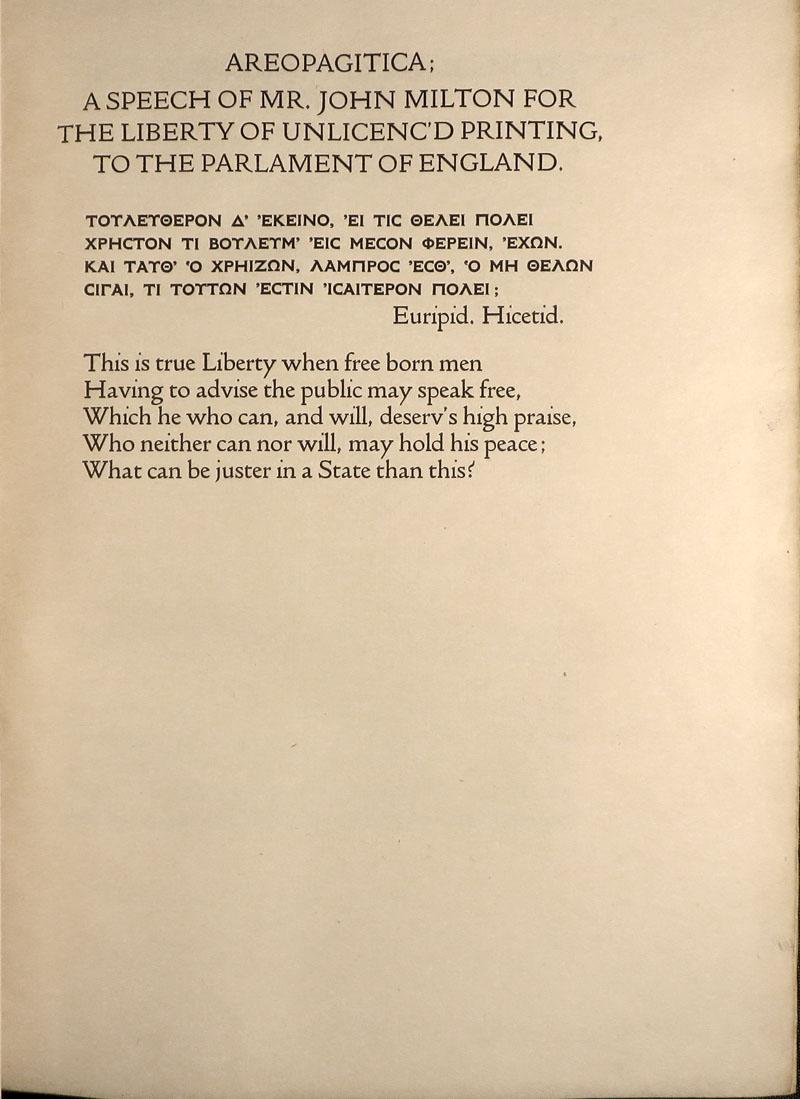 AREOPAGITICA; A Speech of Mr. John Milton: Doves Press] Milton