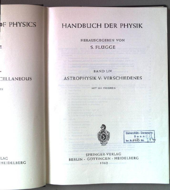 Handbuch der Physik. Band LIV. Astrophysik V: Flügge, S. (Hrsg.):