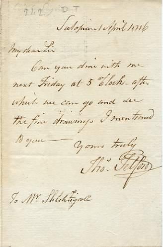 Autograph Letter Signed ('Thomas Telford') to Mr: TELFORD, Thomas (1757-1834).