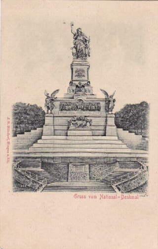 Gruss vom National-Denkmal. Ansichtskarte in geprägtem Lichtdruck.: Rüdesheim -