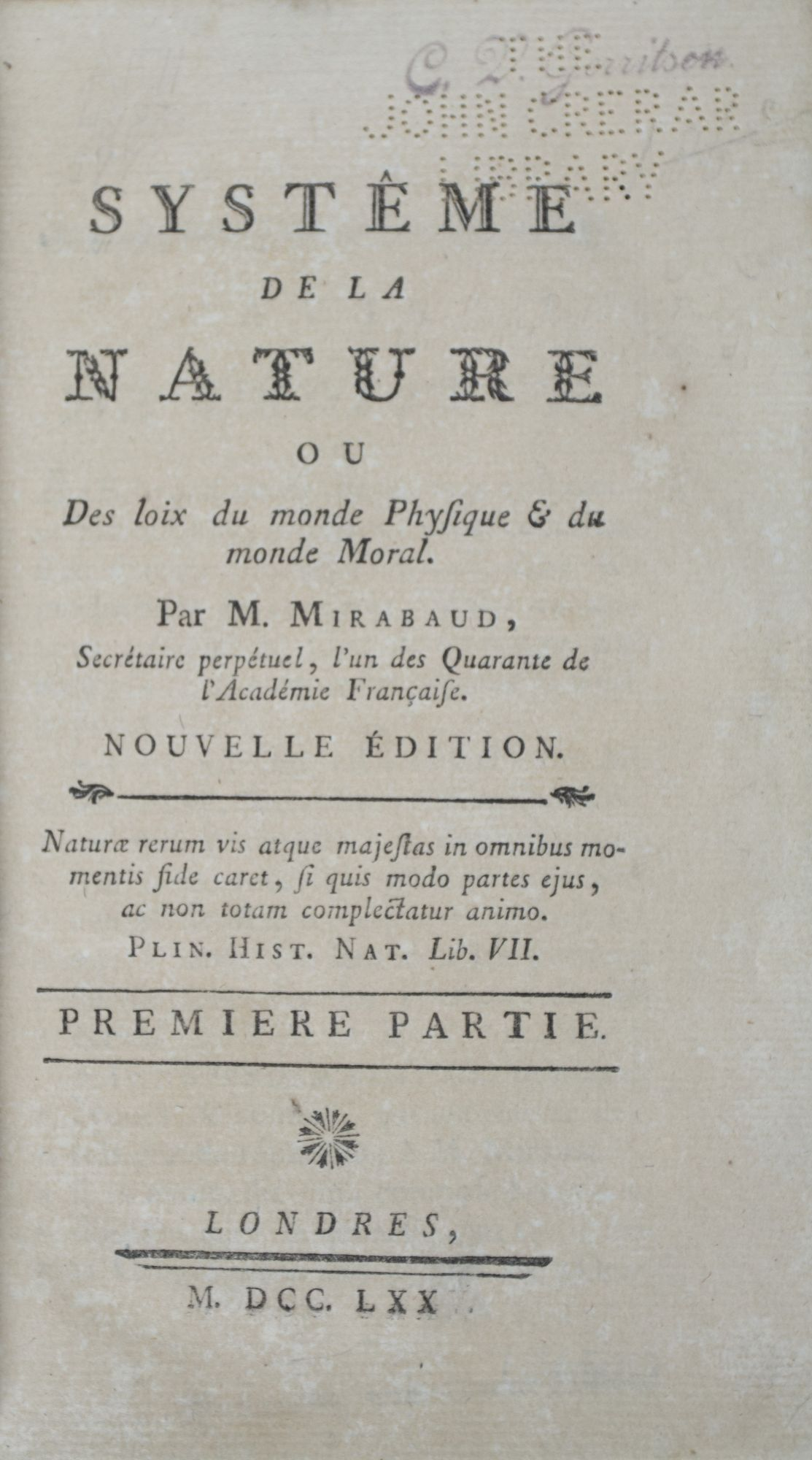Systême de la Nature ou Des Loix: Mirabaud, M. (Paul-Henri