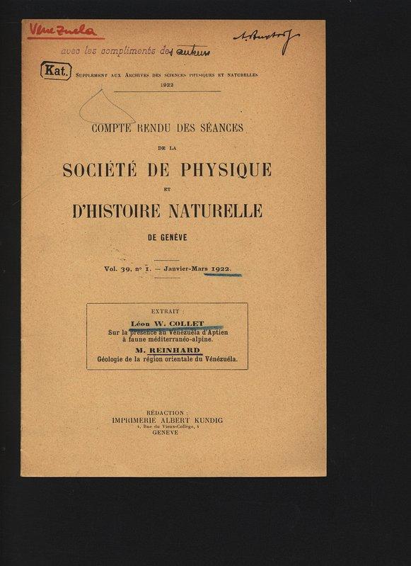 Sur la presence au Venèzeela d Aptien à: Collet, Leon W.