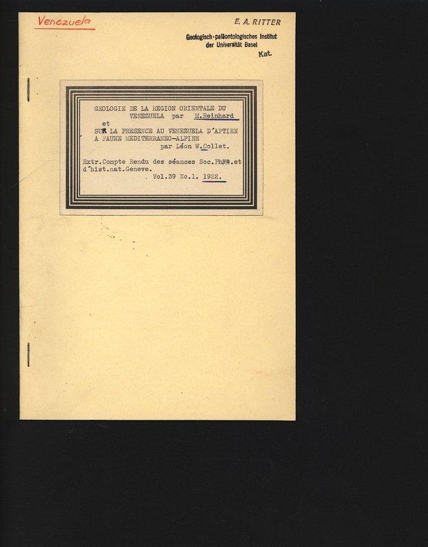Geologie de la region orientale du Venezuela.: Reinhard, M. und