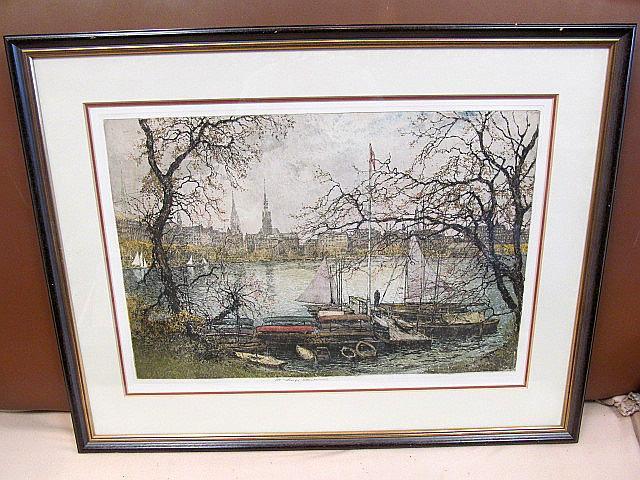 Hamburg. Blick auf die Binnenalster. Signierte Farbradierung,: Kasimir, Luigi (