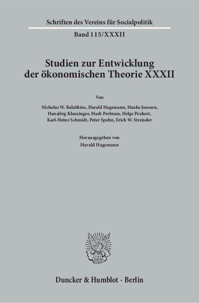 Studien zur Entwicklung der ökonomischen Theorie XXXII.: Harald Hagemann