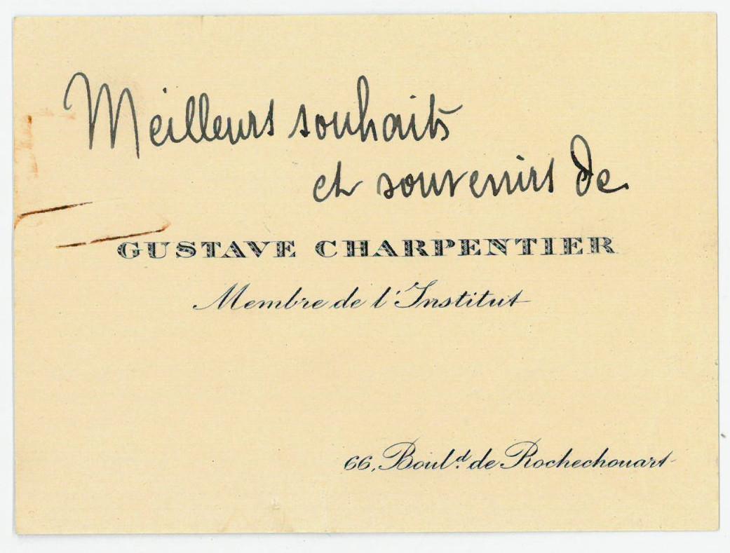 Eigenh. Visitenkarte.: Charpentier, Gustave, Komponist