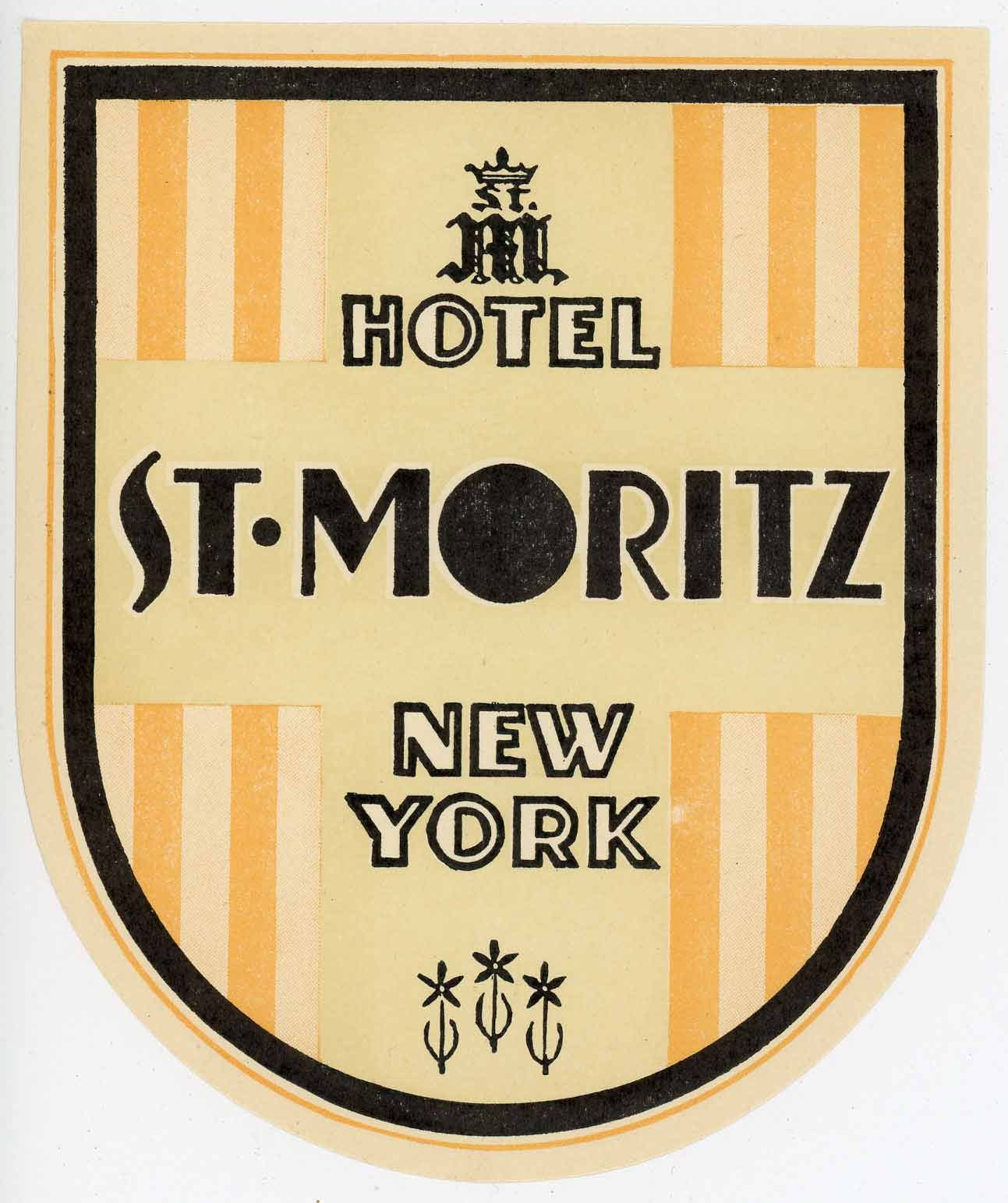 1930 c Hotel Astor ~NEW YORK CITY~ Historic /& Artistic Early Luggage Label