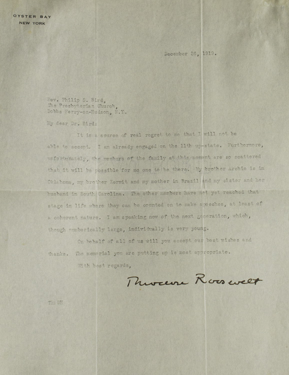 """2 Typed Letters Signed (""""Theodore Roosevelt"""") to: Roosevelt, Theodore, Jr."""