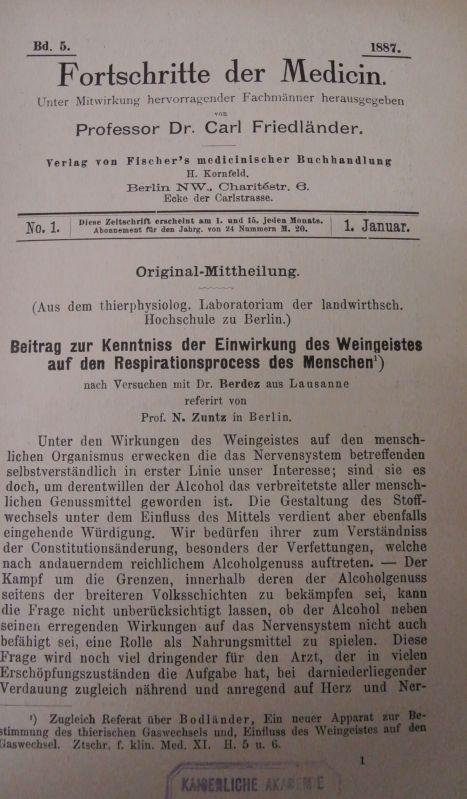 Beitrag zur Kenntniss der Einwirkung des Weingeistes: Friedländer, Carl [Hrsg.]
