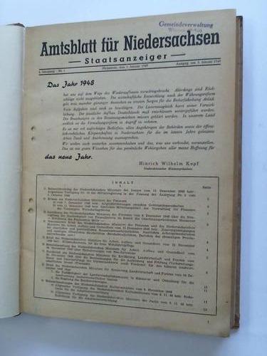 Staatsanzeiger. 4. Jahrgang 1949: Amtsblatt für Niedersachsen