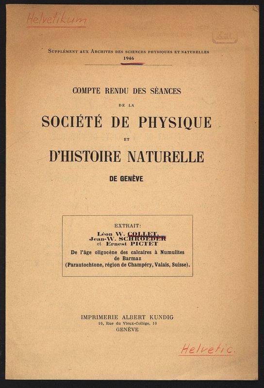 De l âge oligocène des calcaires à Numulites: Collet, Leon W.,