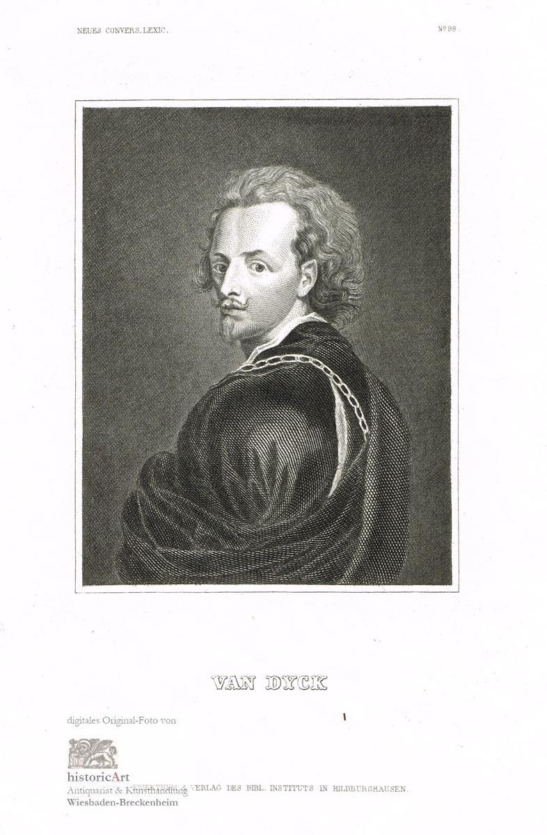 van Dyck. Brustbild nach halblinks. Stahlstich um: Anthonis van Dyck
