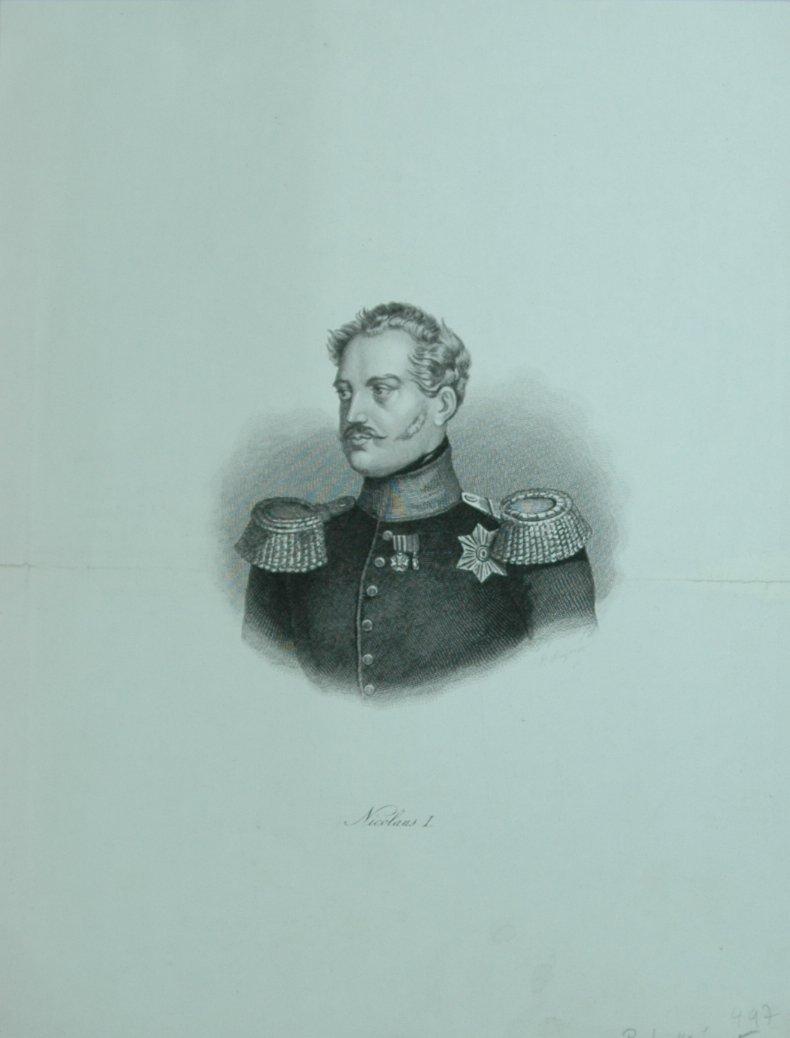 Porträt. Brustfigur en face. Unterrand mit Beschriftung: Nikolaus I, Pawlowitsch