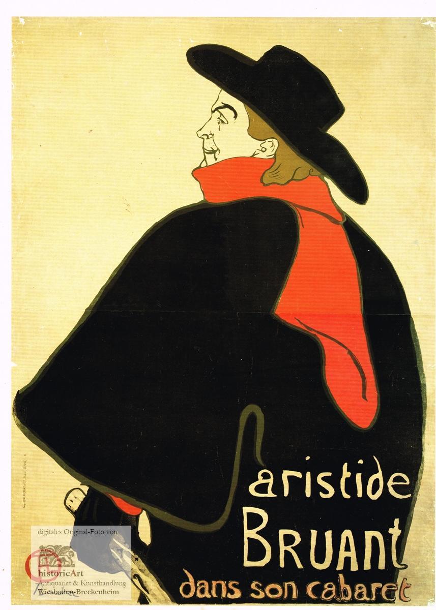 Aristide Bruant dans son cabaret. Großes Kunstdruckblatt: Henri de Toulouse-Lautrec