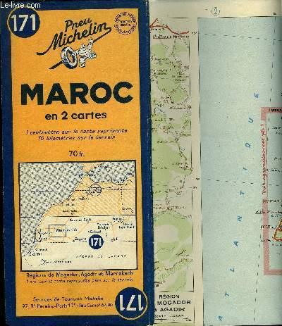 Carte Michelin N 171 Maroc En 2 Cartes Region De Mogador Agadir Et Marrakech By Collectif 1948 Map Le Livre