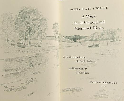 A WEEK ON THE CONCORD AND MERRIMACK: THOREAU, Henry David