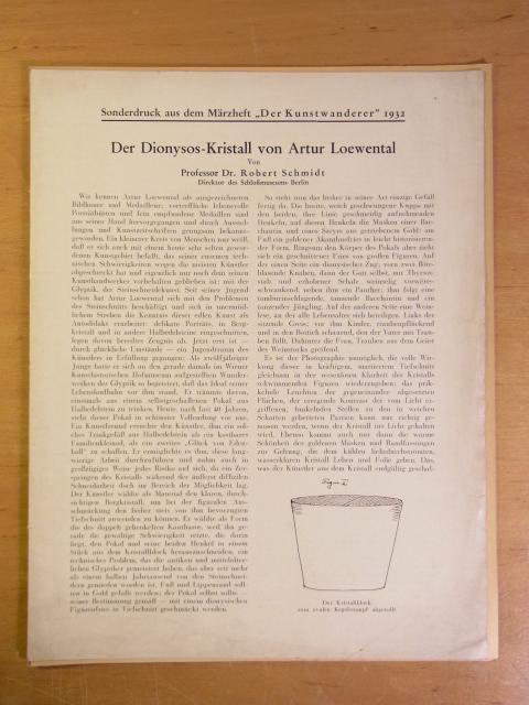Der Dionysos-Kristall von Arthur Loewental. Sonderdruck aus: Schmidt, Dr. Robert: