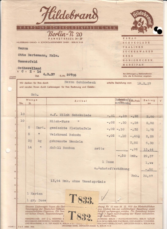 Rechnung Hildebrand Kakao- und Schokoladenfabrik Berlin 1937: Hildebrand