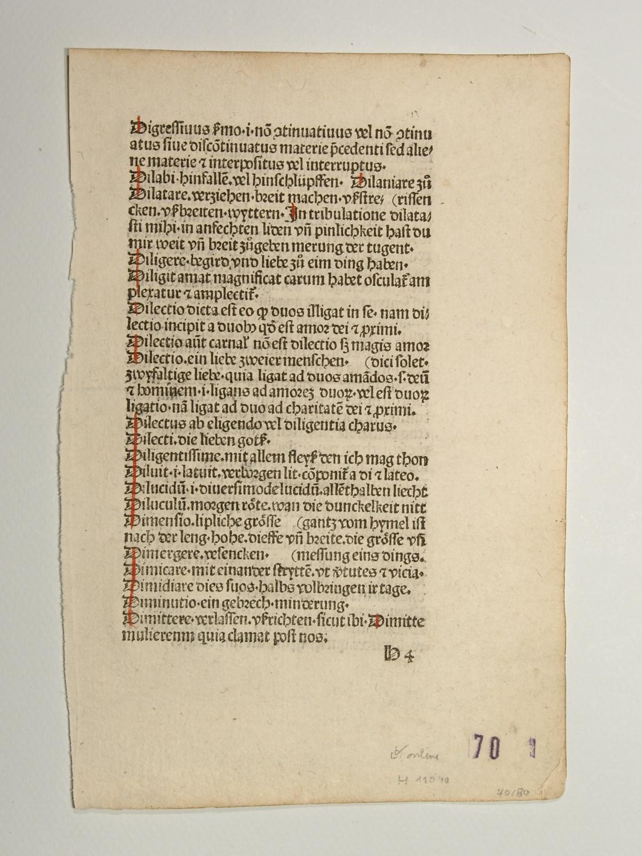 Vocabularius praedicantium (GWM 22728, H 11040).: Johannes Melber:
