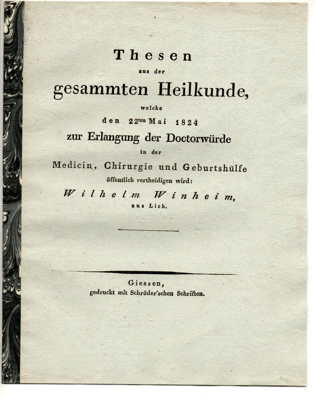 Thesen aus der gesammten Heilkunde.: Winheim, Wilhelm: aus