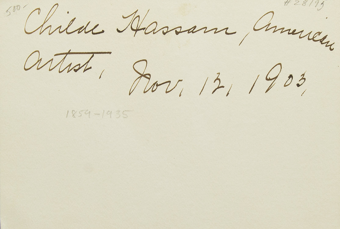 """Card signed in ink: """"Childe Hassam /: Hassam, Childe"""