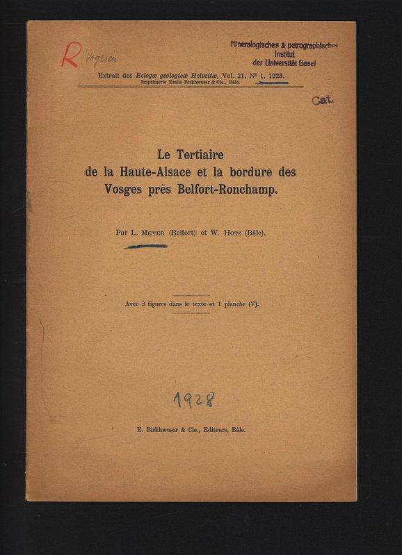 Le Tertiaire de la Haute-Alsace et la: Meyer, L.,