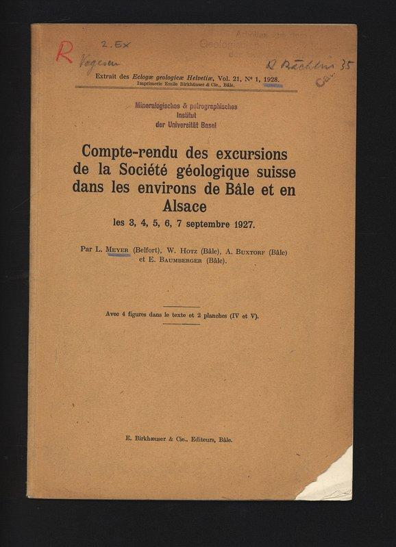 Compte-rendu des excursions de la Société géologique: Meyer, L.,