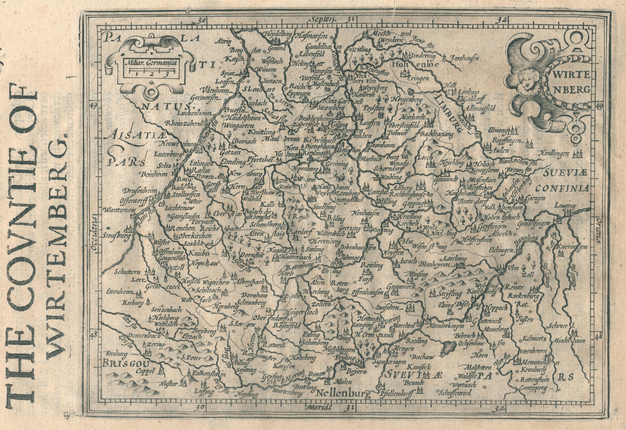 "Kst.- Karte, aus ""Historia Mundi"" n. Mercator,: Württemberg ( Herzogtum"