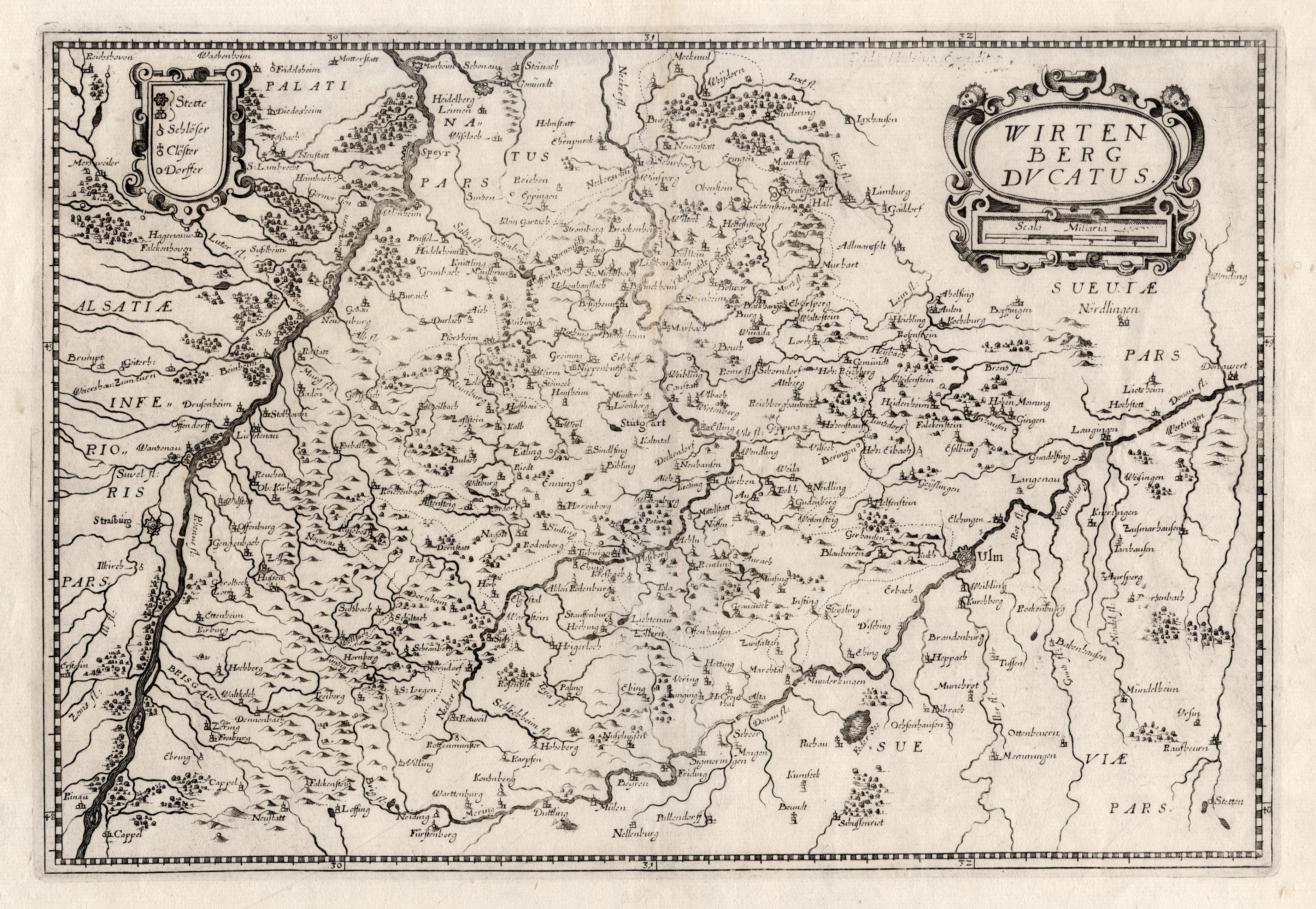 """Kst.- Karte, b. Merian, """"Wirtenberg ducatus"""".: Württemberg ( Herzogtum"""