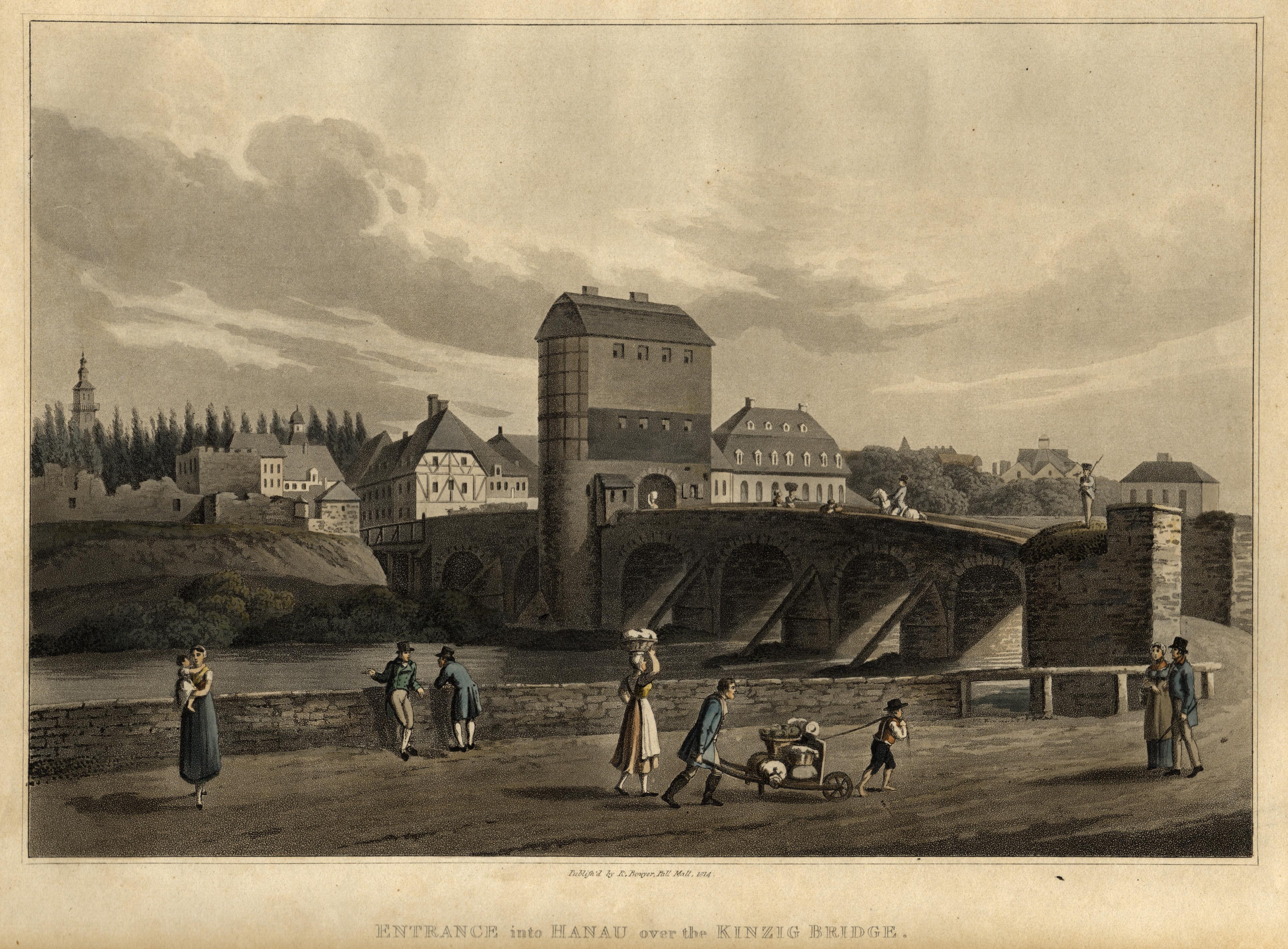 TA., Kinzig Brücke, Blick über die Kinzig: Hanau: