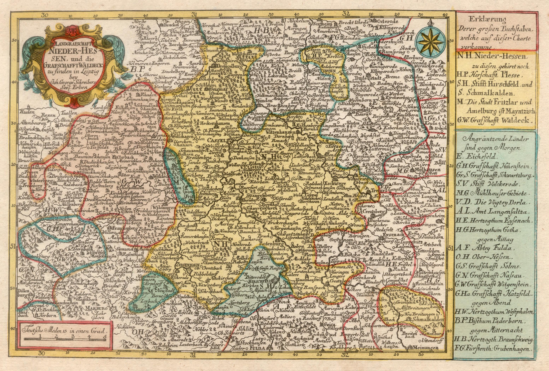Kst.- Karte, b. J.G Schreiber seel. Erben,: Nordhessen - Waldeck: