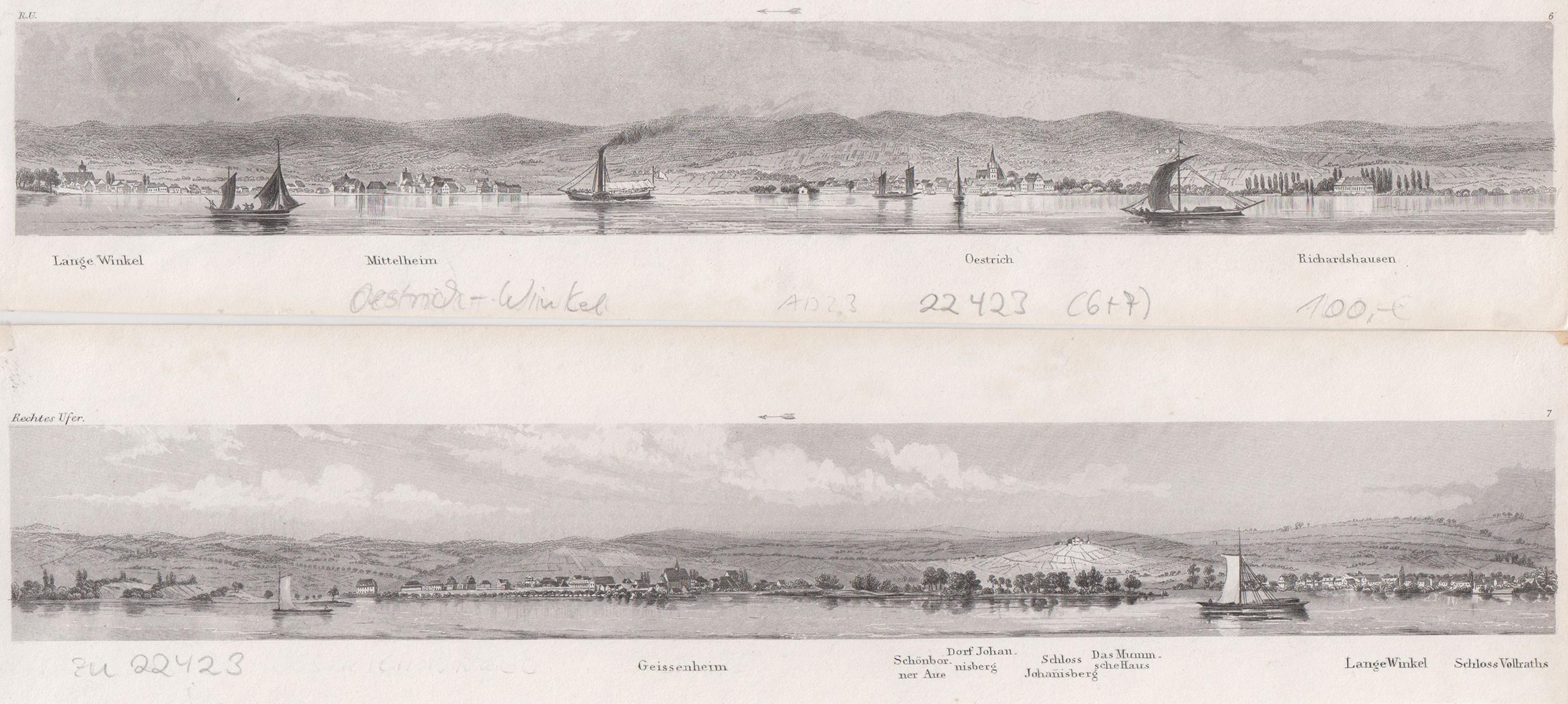 Panoramaansicht v. der Rheinmitte aus.: Oestrich - Winkel