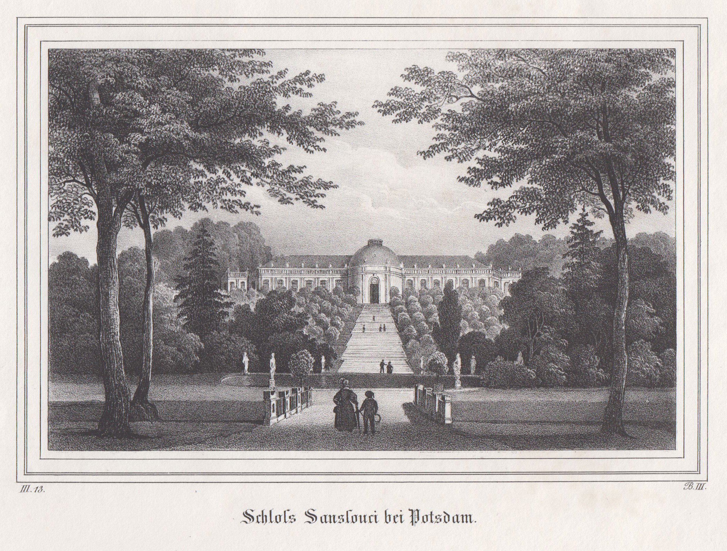"""Ansicht mit den Terrassen, """"Schloss Sanssouci bei: Potsdam - Schloss"""