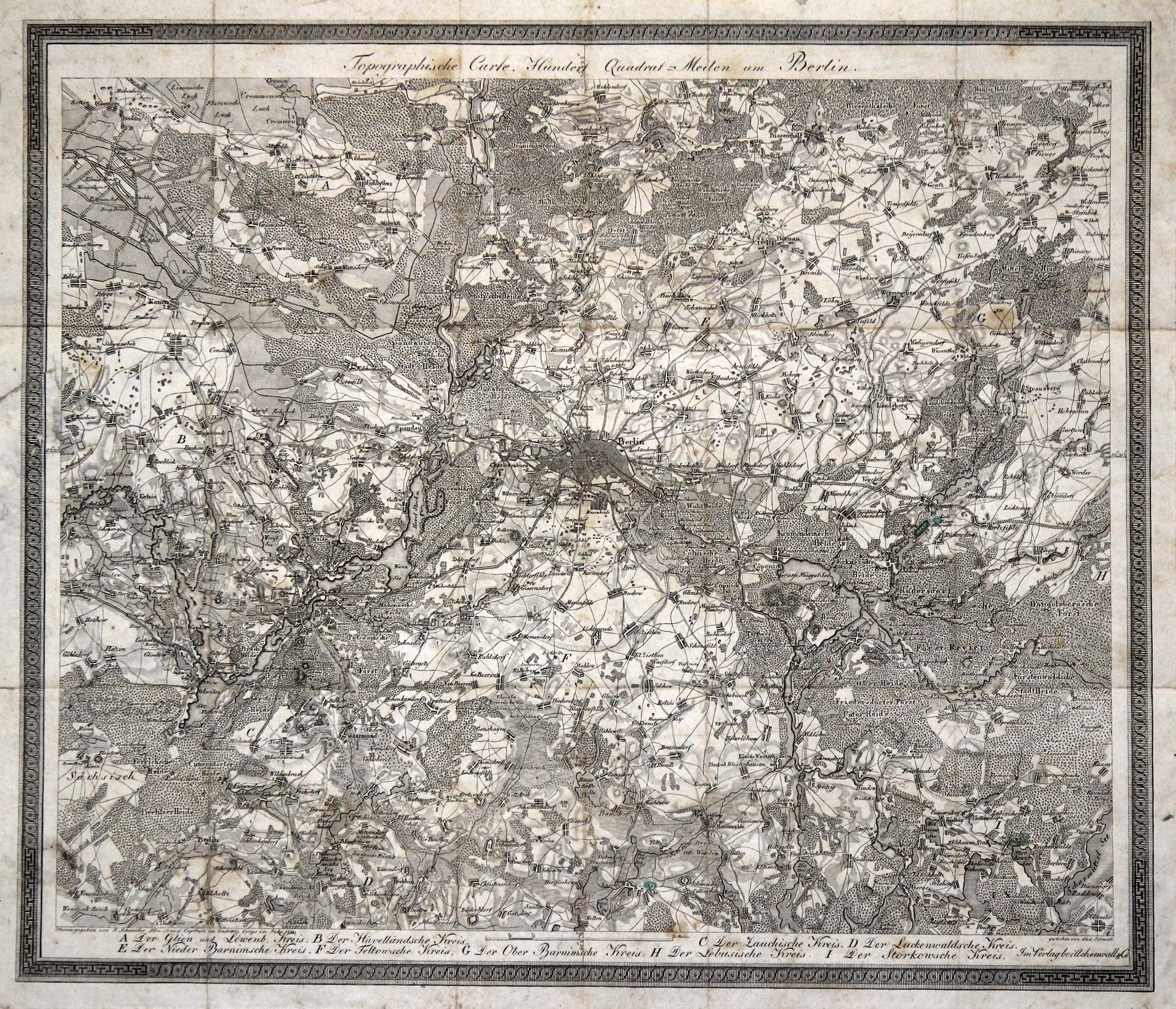 Topographische Carte Hundert Quadrat-Meilen um Berlin.: Berlin - Umgebungskarte: