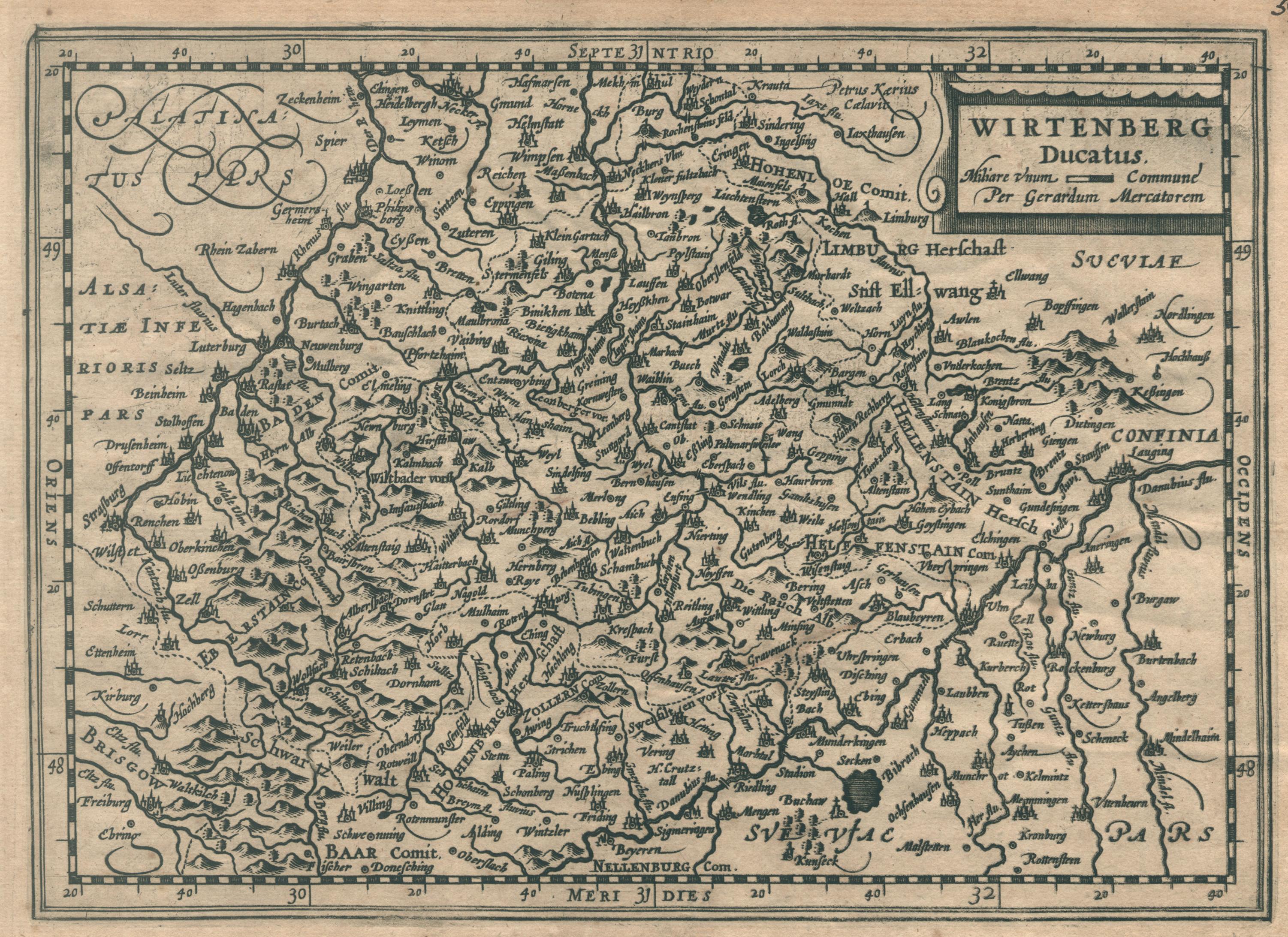 Kst.- Karte, n. G. Mercator b. Janssonius: Württemberg ( Herzogtum