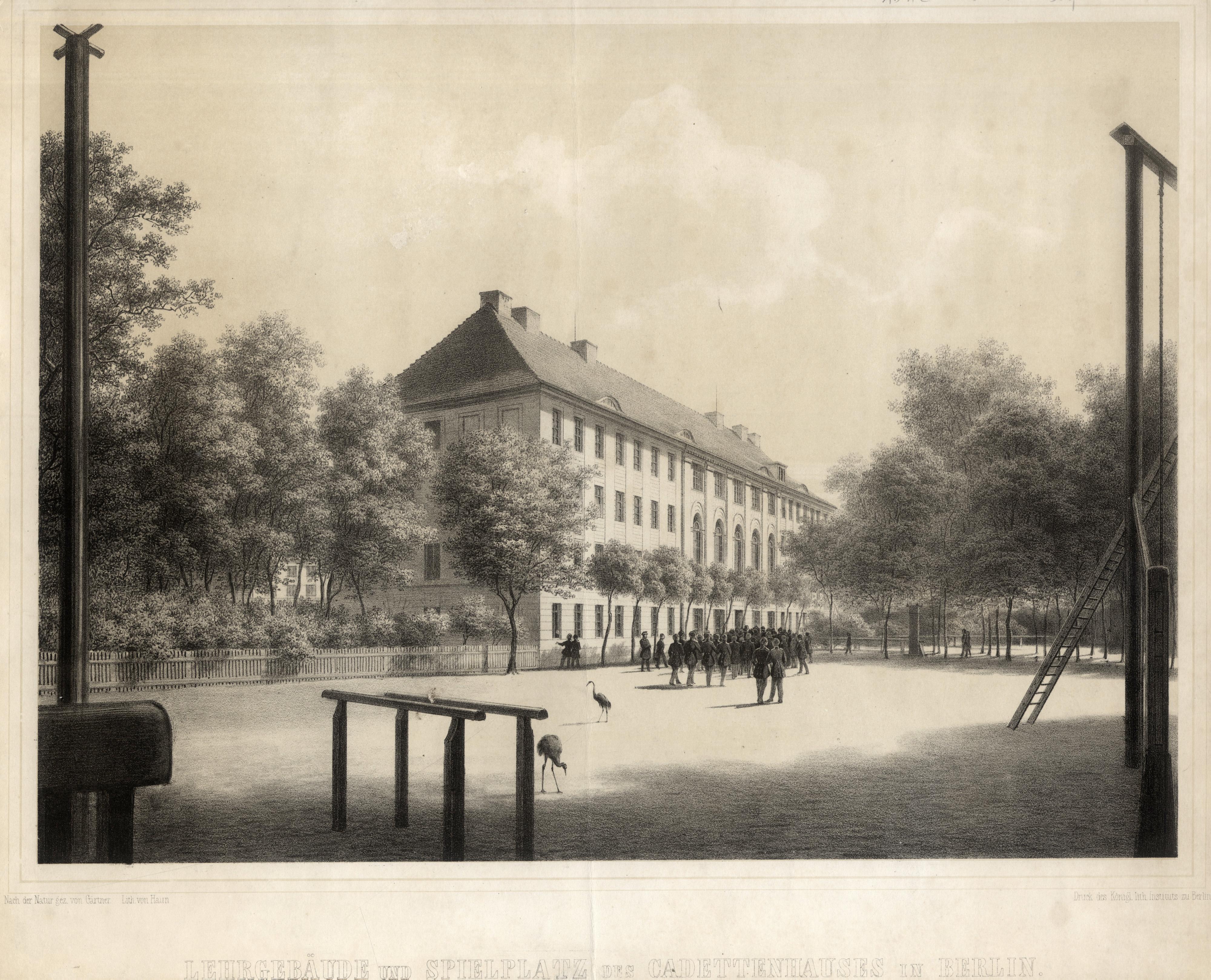 """Kadettenhaus, """"Lehrgebäude und Spielplatz des Cadettenhauses in: Berlin - Militärbauten:"""