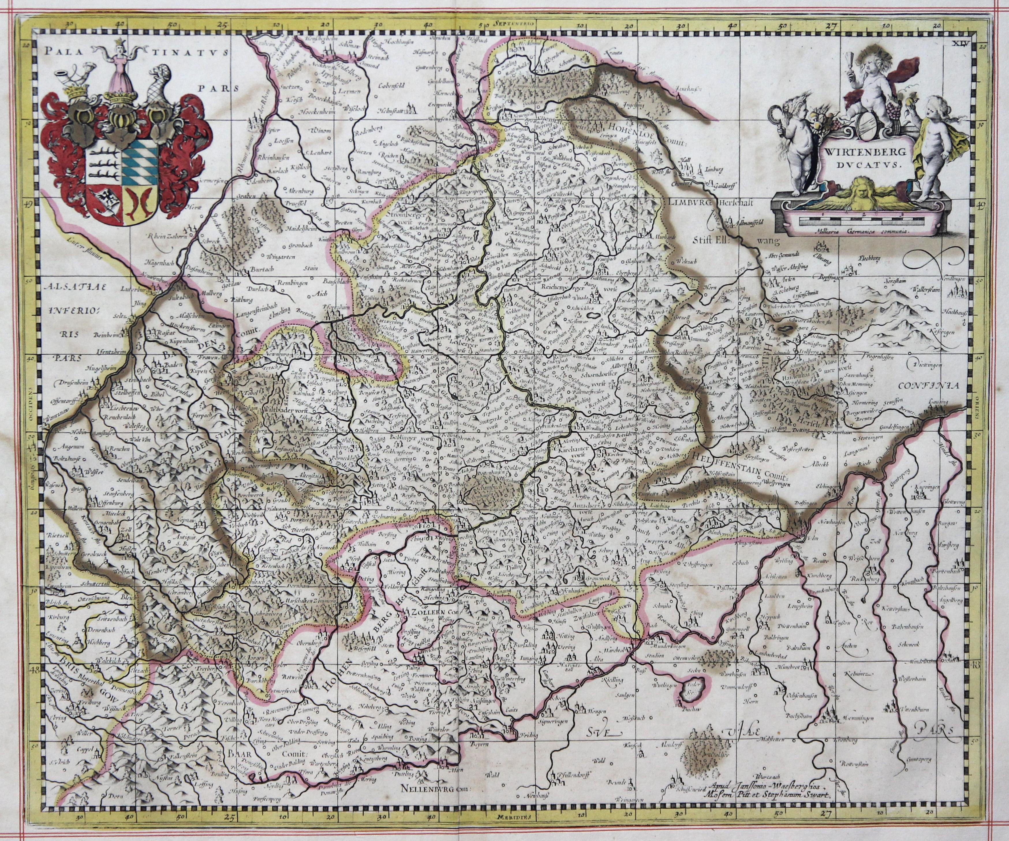 Kst.- Karte, b. Janssonius- Waseberge, Pitt und: Württemberg ( Herzogtum