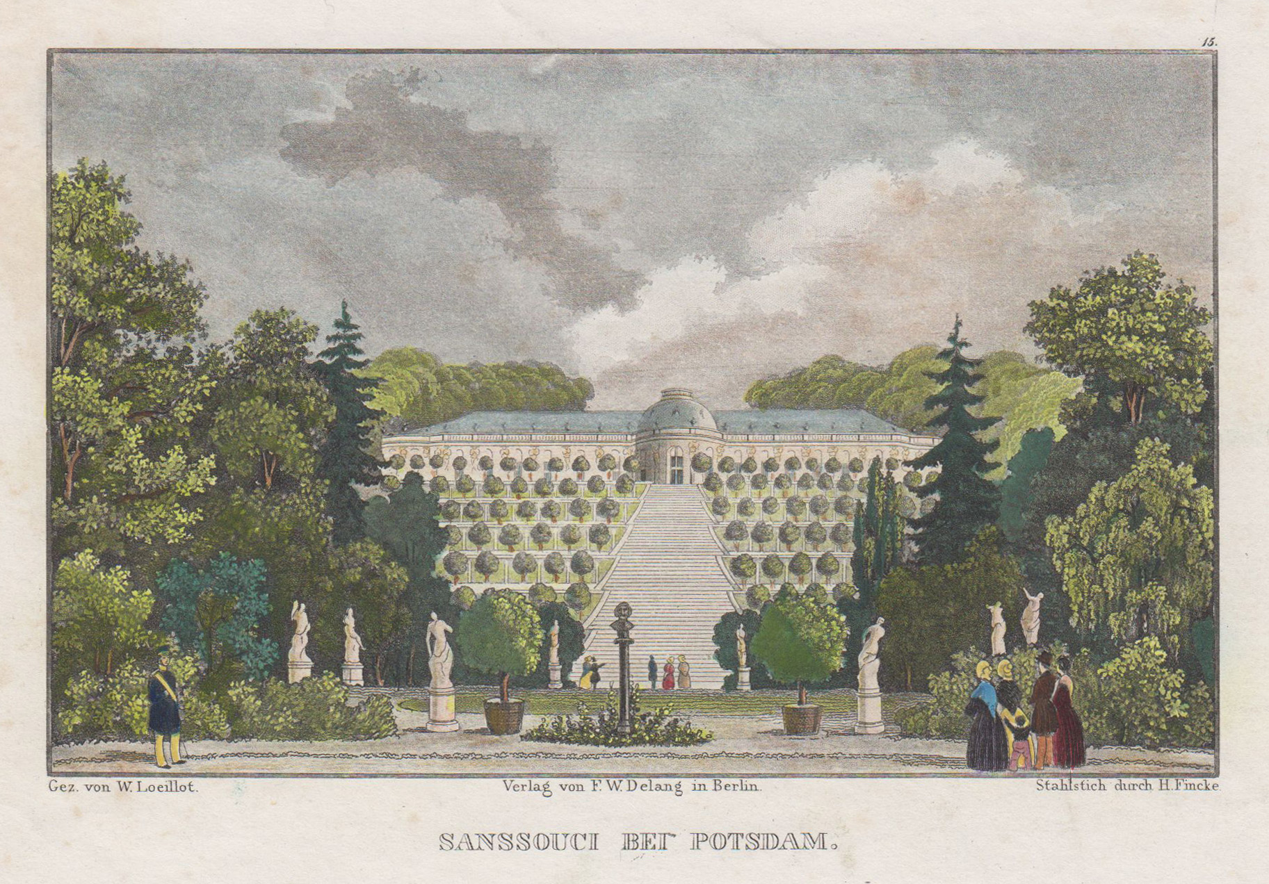 "Ansicht mit den Terrassen, ""Sanssouci bei Potsdam"".: Potsdam - Schloss"