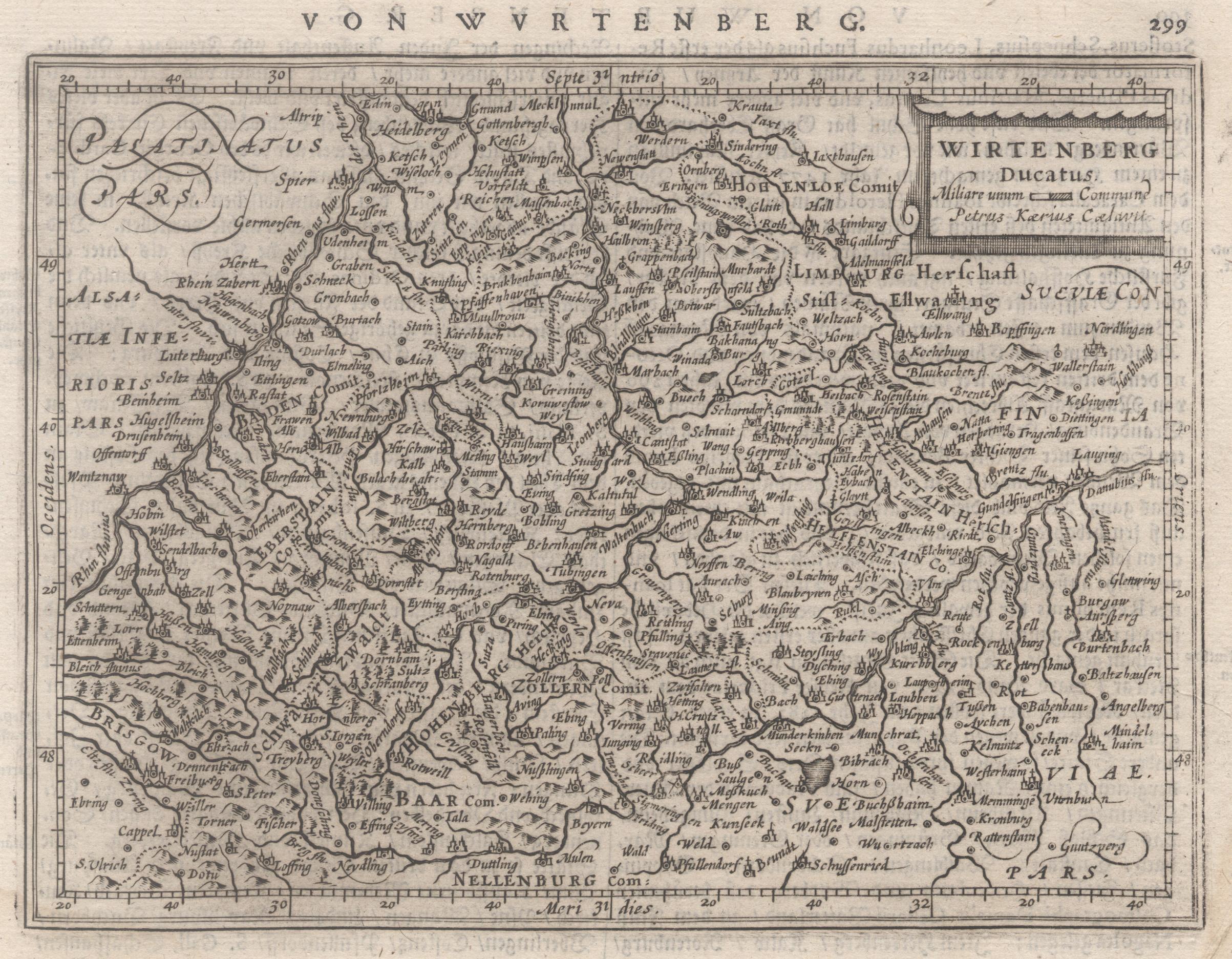 "Kst.- Karte, n. Kaerius b. Janssonius, ""Wirtenberg: Württemberg ( Herzogtum"