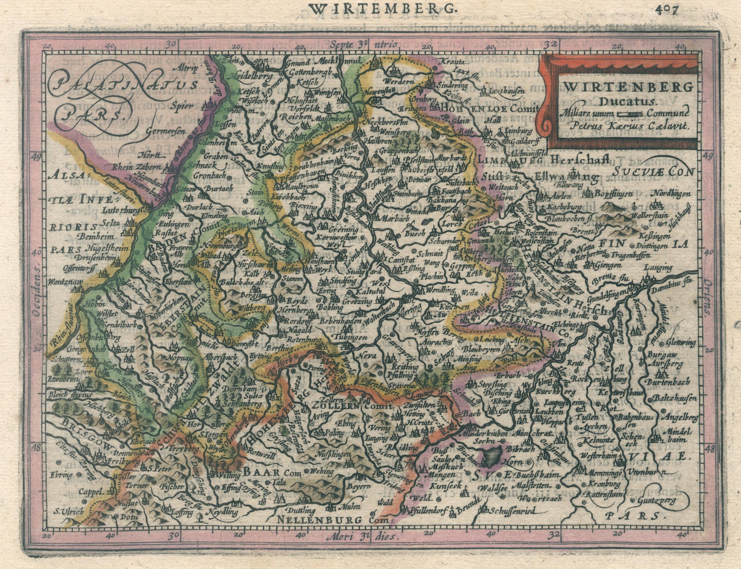 "Kst.- Karte, n. Kaerius b. Janssonius, ""Wirtemberg: Württemberg ( Herzogtum"
