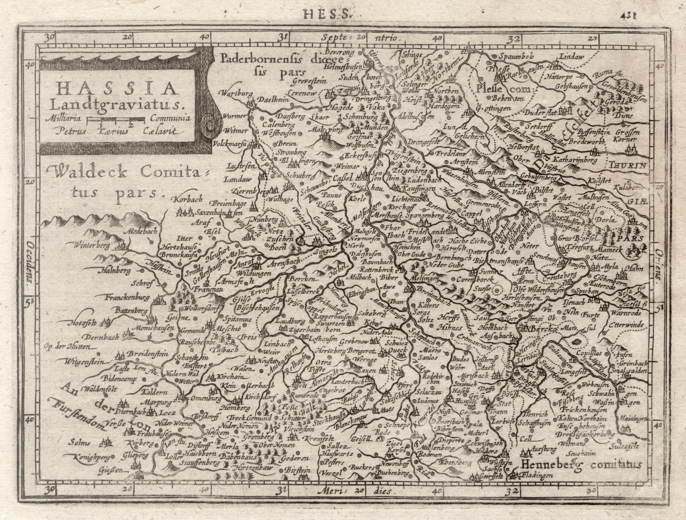 "Kst.- Karte, n. Kaerius b. Janssonius, ""Hassia: Nordhessen:"