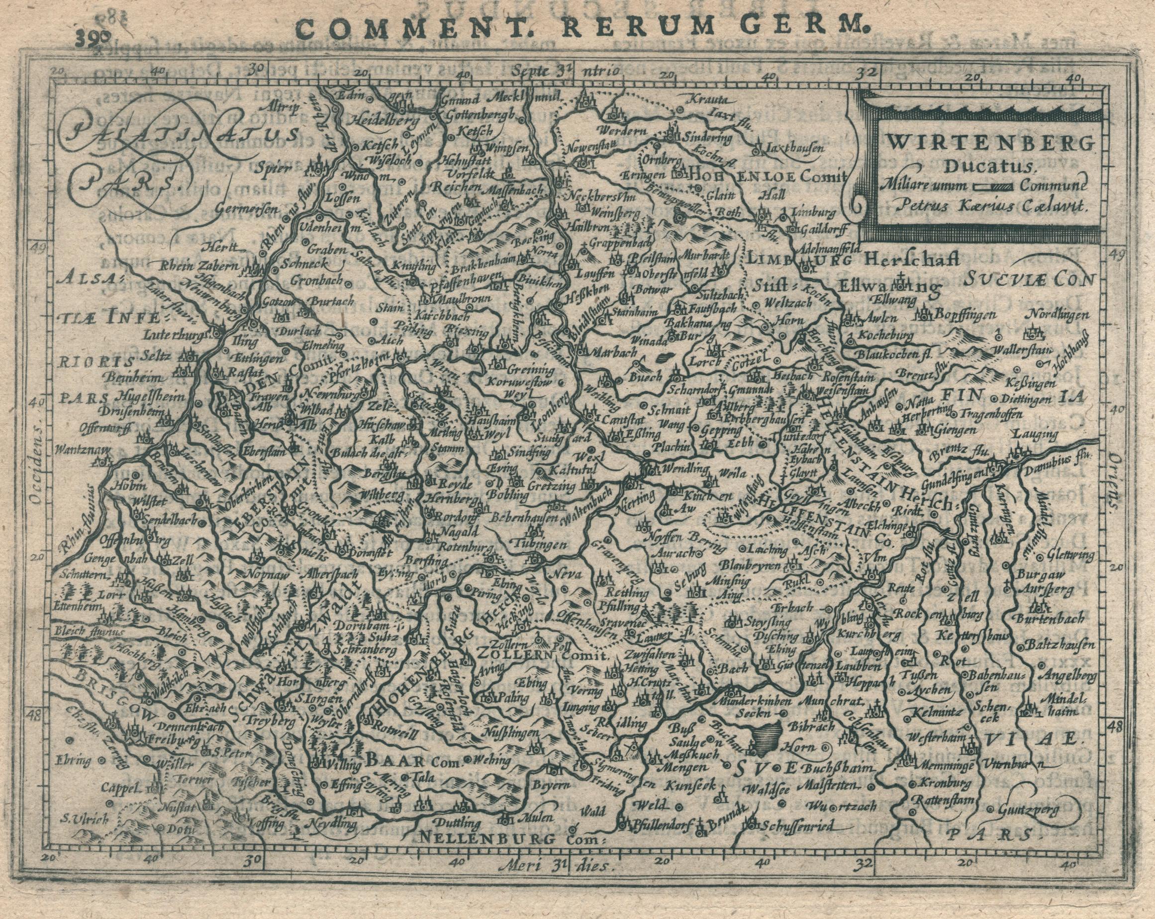 Kst.- Karte, n. P. Kaerius b. Bertius,: Württemberg ( Herzogtum