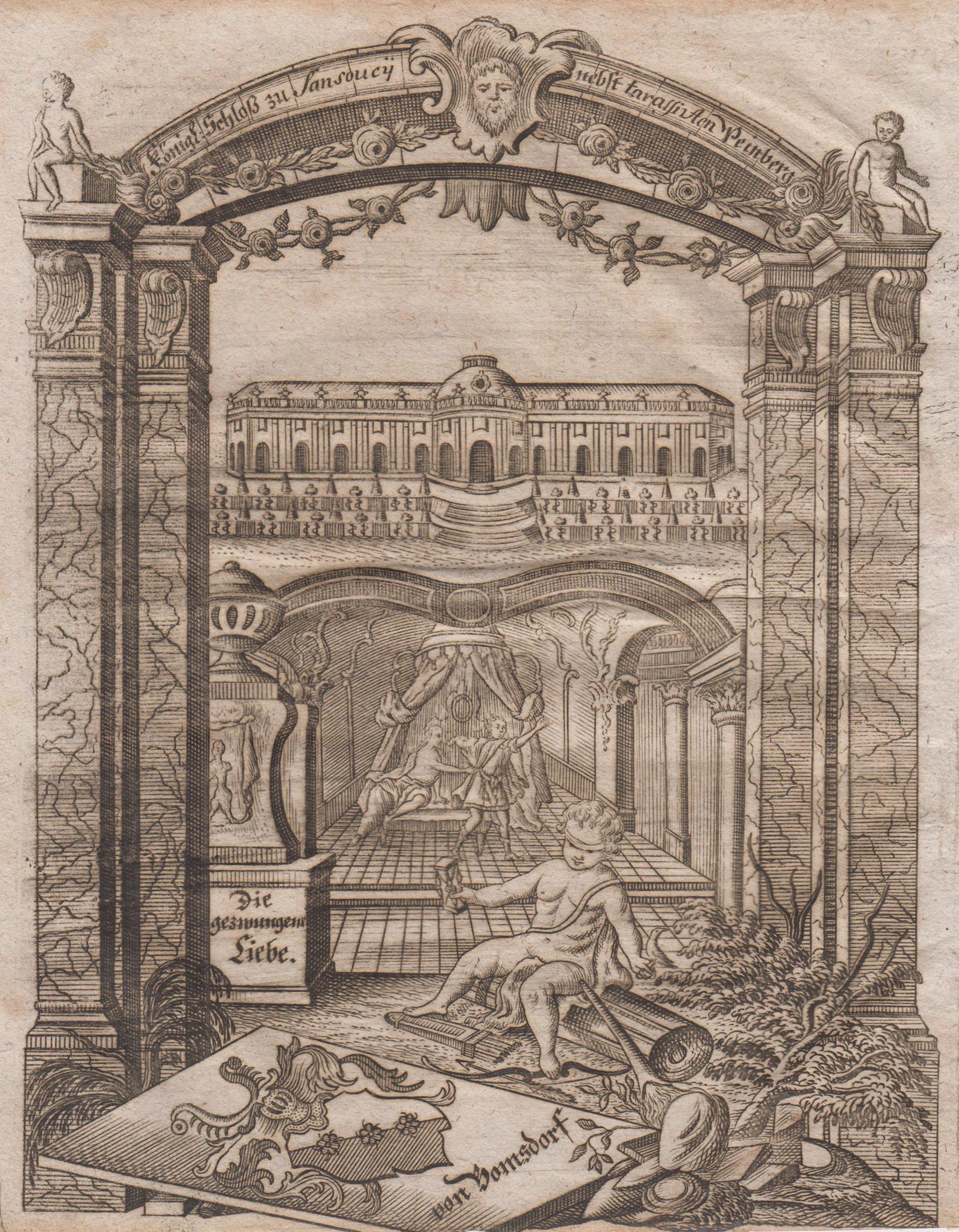 """Ansicht mit den Terassen, """"Königl. Schloß zu: Potsdam - Schloss"""