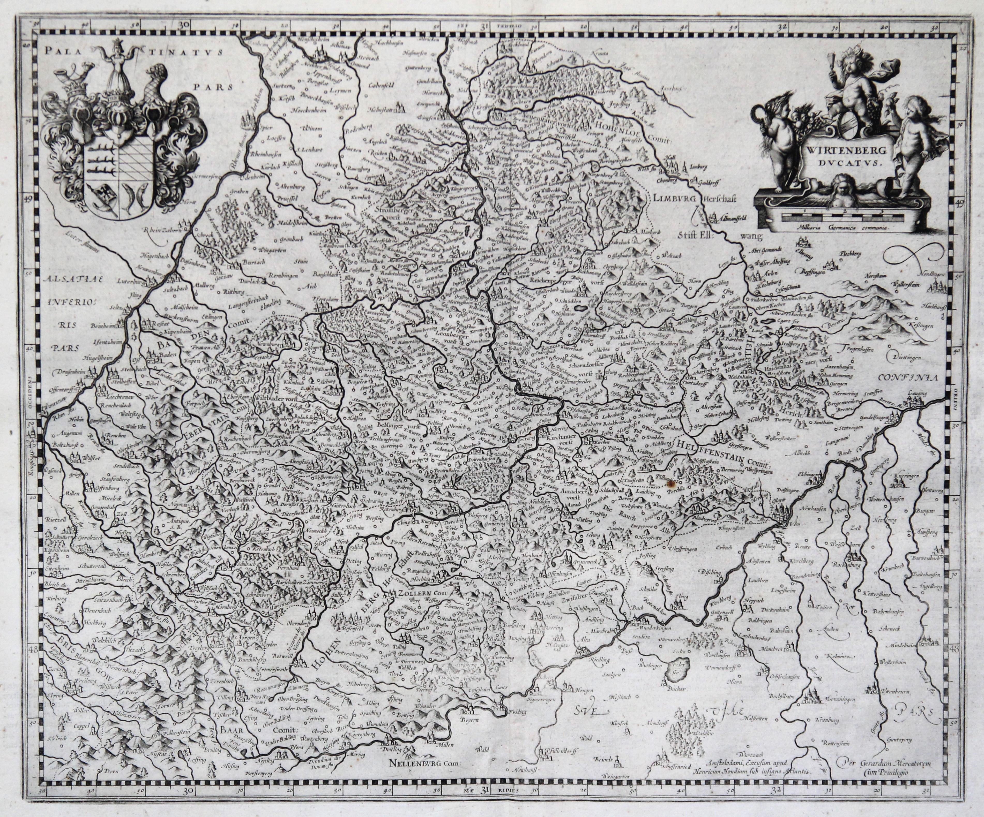 Kst.- Karte, v. G. Mercator b. Hondius,: Württemberg ( Herzogtum