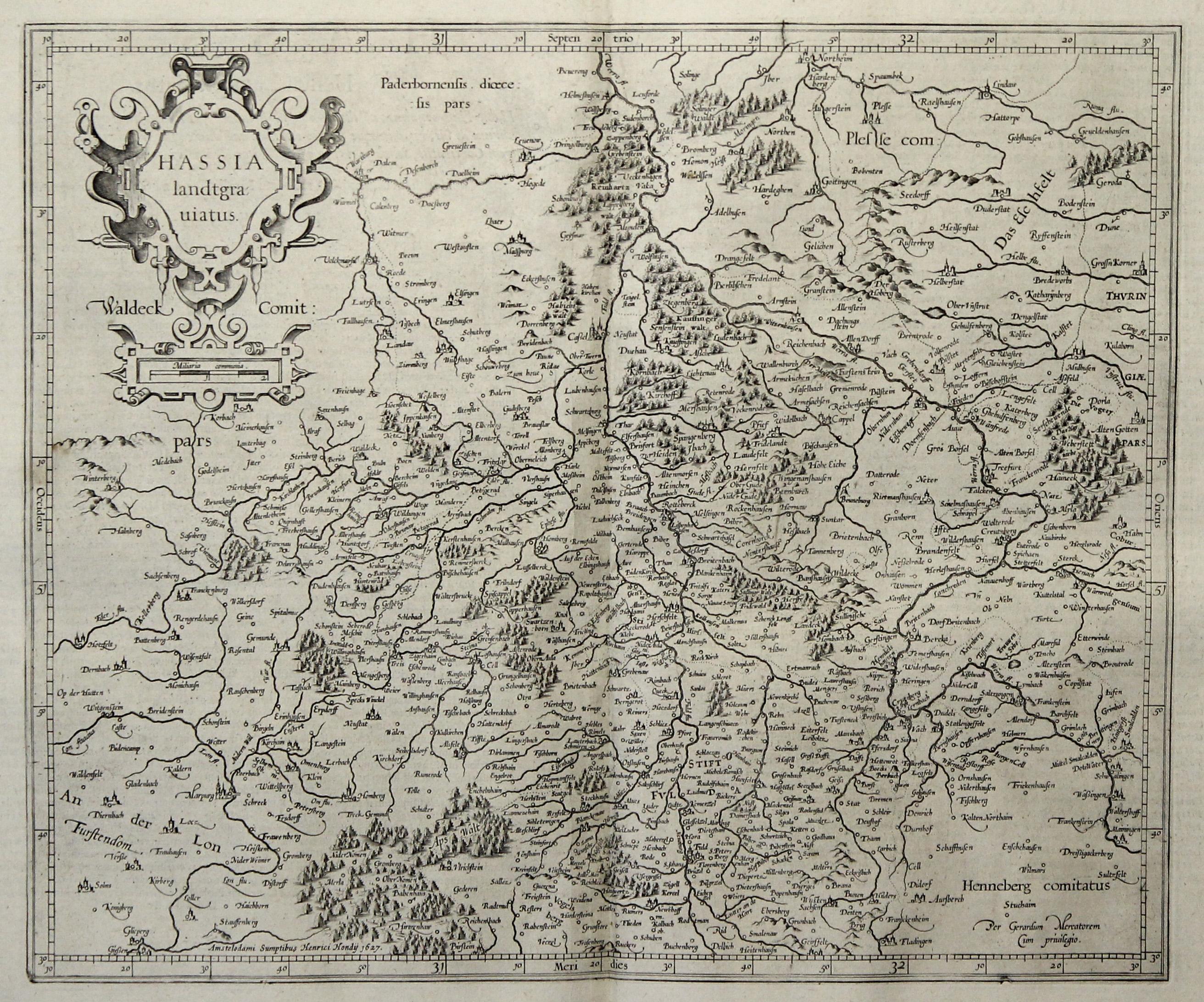 Kst.- Karte, n. Mercator b. H. Hondius,: Nordhessen: